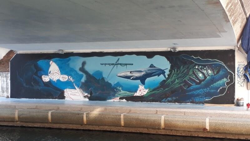 Réalisation d'une fresque par Braga last1 et Kowse Wone
